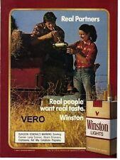 1987 magazine ad WINSTON LIGHTS cigarettes advertisement couple hay truck