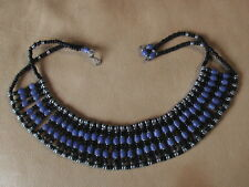 """""""HANDMADE"""" COSTUME JEWELRY NECKLACE """"BLACK and BLUE"""" BEADS. 16 inches.Tribal"""