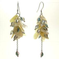 Boucles d'oreilles grappe perles pétales Nacre beige Cristal attaches ARGENT 925