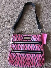 BETSEY JOHNSON Betseyville Zip It Up Pink 2 Zip Crossbody Handbag Purse Tote NWT