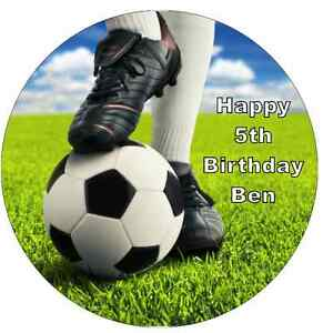 """Football And Boots Personalised Cake Topper Edible Wafer Paper 7.5"""""""