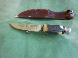Vtg York Cutlery 685 Solingen Germany Boy Scout Hunting Knife Etched Blade Stag