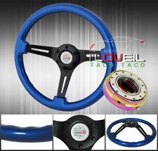 345mm 3 Spoked Aluminum Steering Wheel Wood Grain + Neo Chrome Quick Release Kit