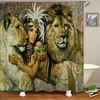 African Women Shower Curtain Bath Mat Toilet Cover Pedestal Rug Home Decor Set