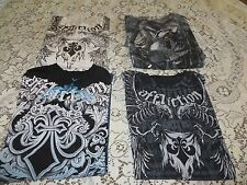 AFFLICTION TEE  LOT 4 Shirts Live Fast Flawed/Repaired/Beaters MED Shirts