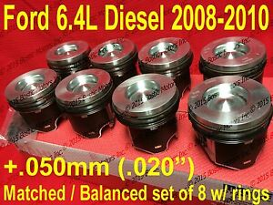 Ford 6.4 6.4L Powerstroke Diesel MAHLE Pistons set 8 +Rings 2008-10 +.50mm +.020