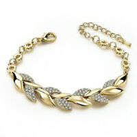 Women Elegant Rhinestone Crystal Gold Bracelet Adjustable Bangle Cuff Jewelry