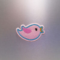 Pink Bird Patch — Iron On Badge Embroidered Motif — Blue Cute Fun Applique