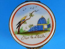 Drum Shape With Bird French Sevres Porcelain Hinged Trinket Box - Hand Painted