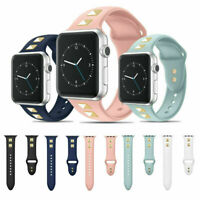 For Apple iWatch Series 5/4/3/2/1 Silicone Sport Watch Band Strap Spikes Rivets
