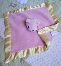 Tadpoles Pink Plush w Yellow Satin Edge Teddy Bear Baby Girl Security Blanket Eu