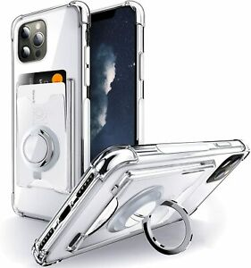 For iPhone 12 Pro Max Wallet Case Card Holder Ring Kickstand Drop Protection