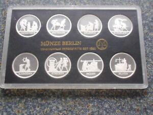 DDR Themensatz 1991 Schadowfries Silber PP Polierte Platte Set Berlin Aufl.1000