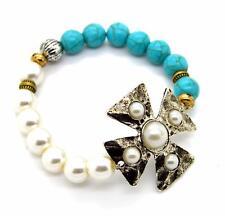 Cross Turquoise Metal Silver Cuff Chunky Costume Stone Bracelet