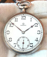 OMEGA  WITH BOX AND Chain SILVER CASE 0.800 OLD  MECHANICAL  POCKET WATCH