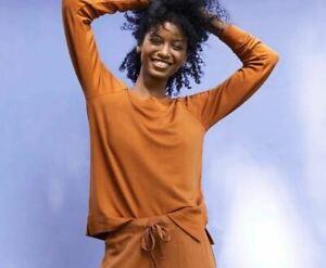 Lou & Grey Signature Softblend Sweatshirt Medium Copper Brown Orange Top $70
