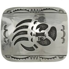 Bear Paw Overlaid Longmire Style Navajo Made Belt Buckle
