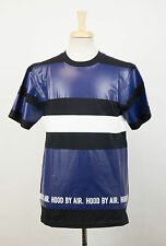 New. HOOD BY AIR Blue/Black Cotton Casual Crewneck T-Shirt Size M $595