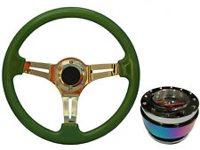 Pea Green Gold TS Steering Wheel + Neo Quick Release boss NCh for LAND ROVER