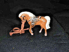 """Antique 2.5"""" Cast IronHorse Figurine Toy Hubley? COWBOY TACK BROWN W/WHITE TAIL"""