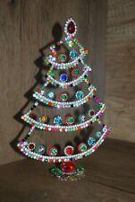 S15  CZECH RHINESTONE CHRISTMAS TREE STANDING AMAZING VINTAGE JEWELRY