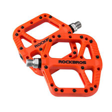 RockBros MTB BMX Bike Pedals Nylon Fiber Bicycle Platform Pedals 9/16'' Orange