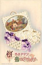 Calligraphy~Pansy Daisy Wicker Basket~Farm Scene on Lid~Art Nouveau~Air Brush