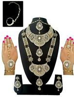 Indian Bollywood Wedding White Pearl Stone Bridal Gold Plated Necklace Set 8 Pcs