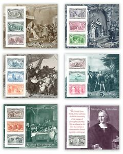 USA 1992 The Voyages Of Columbus Set of 6 Stamp Miniature Sheets Mint Unhinged