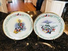 "LENOX DISNEY'S Holiday Plates 8"" ""First Snow""&""A Caroline We Go"" Gold Trim. EUC"