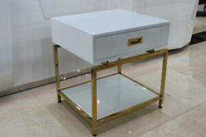 Designer Side Table Glass Table Metal Couch Sofa Table White Gold New