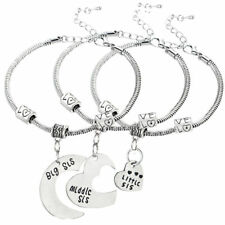 3pcs Big Middle Little Sister European Charm Bracelet Set Lil Sis Friendship BFF