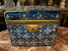 From Moser Book! $4500 19Thc Hinged Glass Platinum Blue White Floral Moser Box!