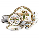Gibson Home Christmas Toile 16 Piece Dinnerware Set, Multicolor -