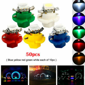 50Pcs T5 B8.4D 5050 1SMD LED Indicator Cluster Gauge Dashboard Dash Side Lights