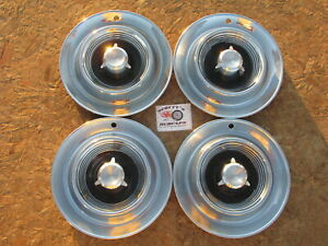 """1957 CHRYSLER IMPERIAL 14"""" WHEEL COVERS, HUBCAPS, SET OF 4"""