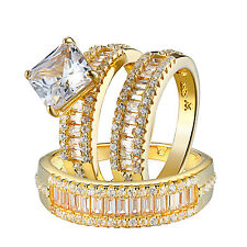 Mens Womens Princess Cut Baguette Trio Wedding Engagement Ring Set Sterling 925