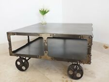 Style Metal Coffee Table With Wheels Vintage
