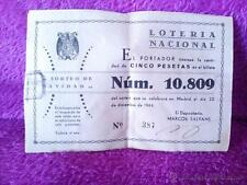 PARTICIPACION LOTERIA NACIONAL ORIGINAL, SORTEO DE NAVIDAD 1944 15X10 10U