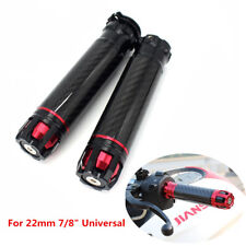 "Universal Motorcycle Carbon Fiber 22mm 7/8"" Handlebar Hand Grips Handle Bar Ends"
