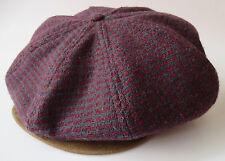 Vtg Pendleton Newsboy Golf Cabbie Hat Cap Virgin Wool Leather Sz M Red Burgundy