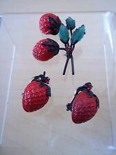 Vintage Austrian Fruit Strawberries Brooch With Matching Clip On Earrings Signed