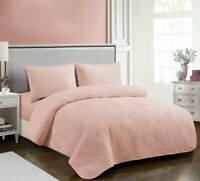 Sienna Living Emerald Embossed Coverlet   Single Double Queen King   Blush Pink