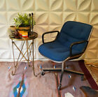 Vintage Authentic KNOLL CHARLES POLLOCK Swivel Arm Chair 4 star base Blue Tweed