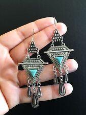 Earrings Silver Turquoise Hippie Bohemian Ethnic Boho Tribal Bohemian A1108
