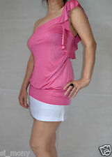 Women Pink Pearl Club Top Long Jersey Stretch One Shoulder Tom Wolfe Size 10
