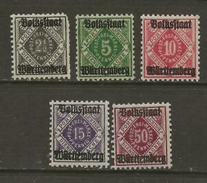 WURTTEMBERG - 1919 MLH GERMAN STATES OFFICIAL STAMPS - Scott O43 / O52  - G47