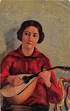BF38844 marianne long song of lute painting art postcard