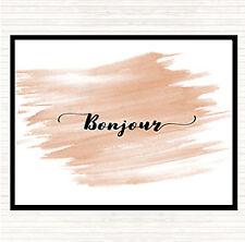 Watercolour Bonjour Quote Dinner Table Placemat