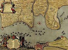 Impresión Poster Mapa Batalla Cádiz 1702 Guerra Española sucesión flota España lfmp0865